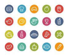 Food Icons - Set 1 of 2 -- Printemps Series Stock Illustration