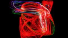 Saturated red circling energy - stock illustration