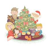 Family celebrating Christmas at the christmas tree - stock illustration