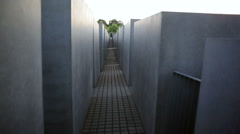 Alley inside the Memorial to the Murdered Jews of Europe, Holocaust, Berlin - stock footage