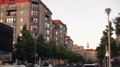 Berlin street with TV Tower in the background, Germany Stock Footage