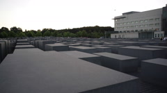 Man jumps on Memorial to the Murdered Jews of Europe, Holocaust, Berlin - stock footage