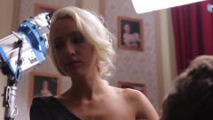 The actress plays the role in the movie. Film shooting - stock footage