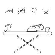 Isolated steam iron icon and beaker - stock illustration