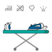 Isolated steam iron icon and beaker - stock illustration
