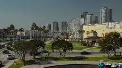 Long Beach Harbor, The Pike, Ferris Wheel & Rollercoaster Stock Footage