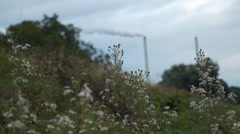 Power plant chimneys air pollution Stock Footage