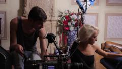 The actress plays the role paired with the male actor in the film. Film shooting - stock footage