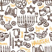 Hanukkah Seamless Pattern - stock illustration