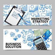 Marketing Banner Set - stock illustration