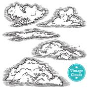 Hand Drawn Clouds Set - stock illustration