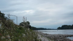 Power plant chimneys at Rhine river, Germany Stock Footage
