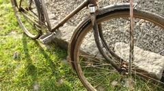 Old bike tilt shot Stock Footage