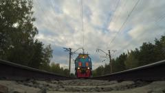 Under train view. Train is arriving to the station. Stock Footage