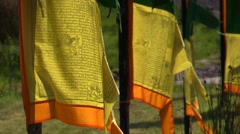 Tibet.Buddhist prayer-flags.Stupa,chorten,wind and faith Stock Footage