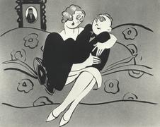 Illustration of man sitting in woman's lap - stock illustration