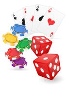 Casino items cards ace and chips dice vector illustration Stock Illustration
