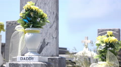 Daddy grave with flowers at graveyard in sunshine 4k - stock footage