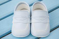 Pair of  Classic Blue Baby Shoes Stock Photos