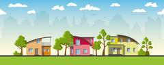 Three modern houses with barrel roof - stock illustration