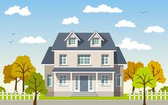 Classic Cottage in the autumn landscape - stock illustration