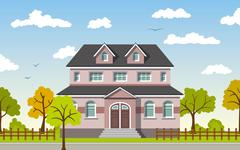 Stock Illustration of Classic Cottage in the autumn landscape