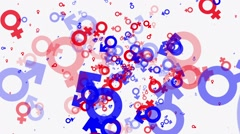 Gender symbol icons in red and blue colors Stock Footage
