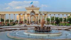 Fountain in the first president park in Almaty Stock Footage