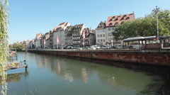 Strasbourg - city scene - water canal and traffic Stock Footage