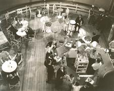 High angle view of people at cocktail lounge aboard ship Stock Photos