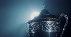 Stock Video Footage of champion silver trophy on black background