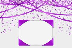 Blank paper with purple elements and confetti Piirros