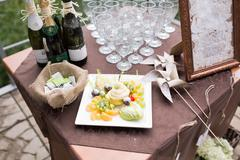 Buffet table in vintage style - stock photo
