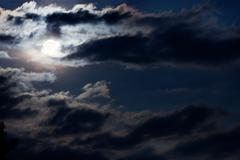 Full moon through a frightening storm clouds Stock Photos