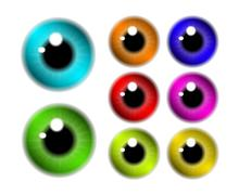 Set of  pupil of the eye, eye ball, iris eye. Realistic vector illustration i - stock illustration