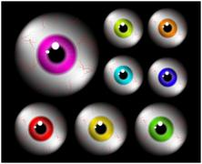 Stock Illustration of Set of realistic human eye ball with colorful pupil, iris. Vector illustratio