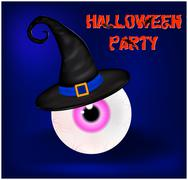 Image of Happy Halloween spooky background flat design with sign Halloween pa - stock illustration