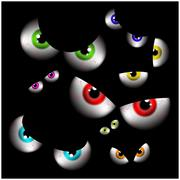 Set of realistic spooky, scary,  human eye ball with colorful pupil, iris. Ha - stock illustration