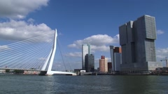 ROTTERDAM Erasmus bridge + Kop van Zuid district with modern architecture Stock Footage