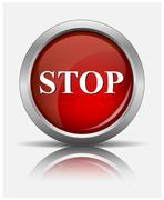 red stop  glossy web button, beautiful Internet button - stock illustration