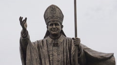 Statue of Pope John Paul II Stock Footage