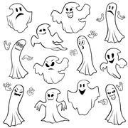 Set of twelve ghost outline - stock illustration