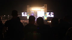 The festival. A music concert. Crowd. silhouettes 04 Stock Footage