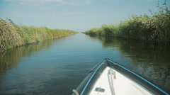 Exploring Danube delta with a boat. Stock Footage