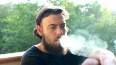 Man smoking . Daylight. Closeup Stock Footage