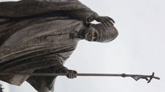 Statue of Pope John Paul II, Vertical footage Stock Footage