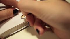 Handwriting in diary. Best regards - stock footage