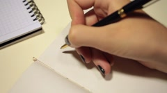 Handwriting in diary. Dear Emily Stock Footage