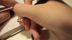 Handwriting in diary. Best regards Stock Footage