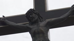 Statue of Christ on the Cross Stock Footage